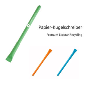 """Papier-Kugelschreiber Promum """"Ecostar"""" Recycling - Material: Schaft und Kappe aus nachhaltig umweltschonendem Recycling-Papier"""